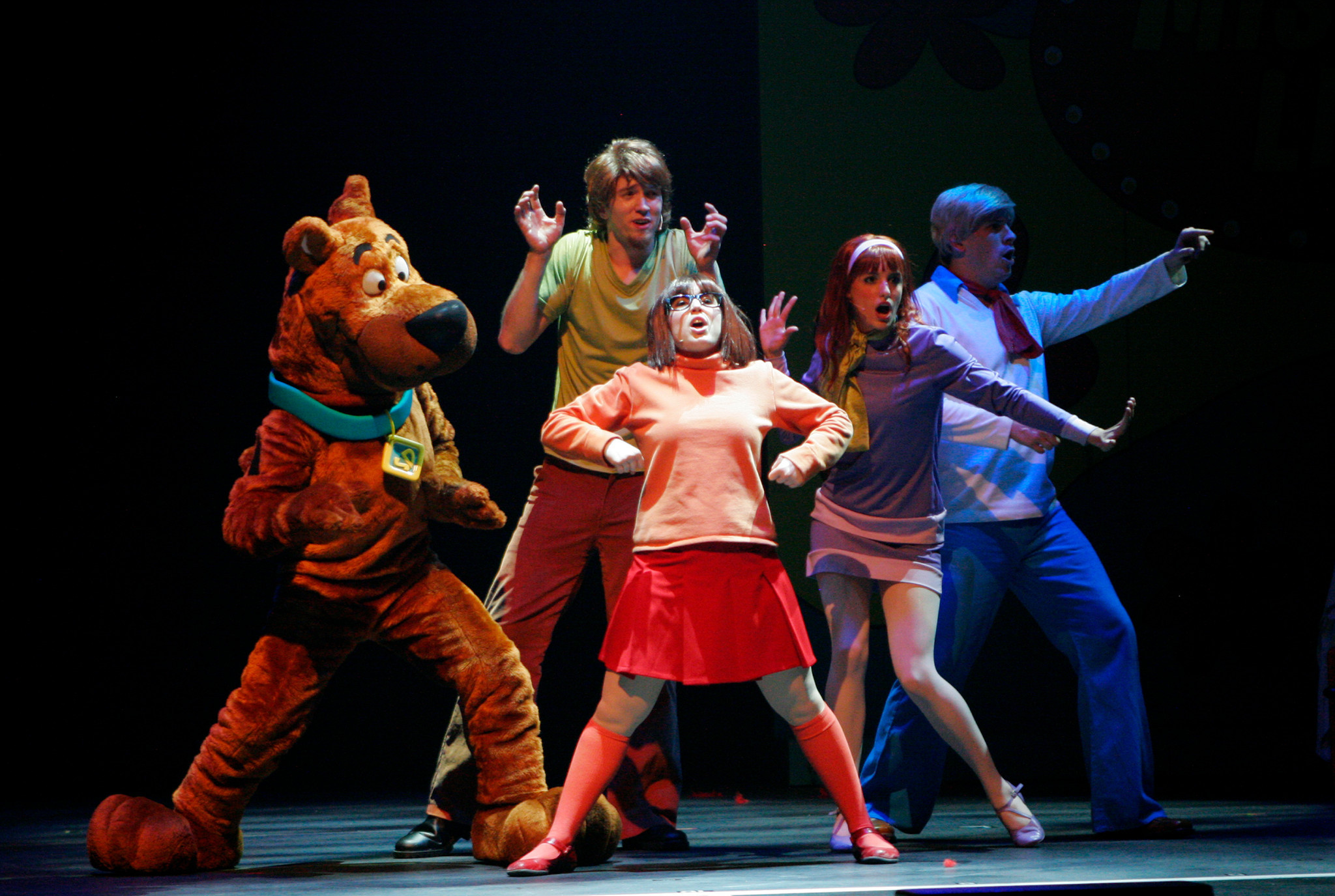 "Scooby-Doo, Shaggy, Velma, Daphne and Fred in ""Scooby-Doo Live! Musical Mysteries,"" presented by Warner Bros. Consumer Products and Life Like Touring."