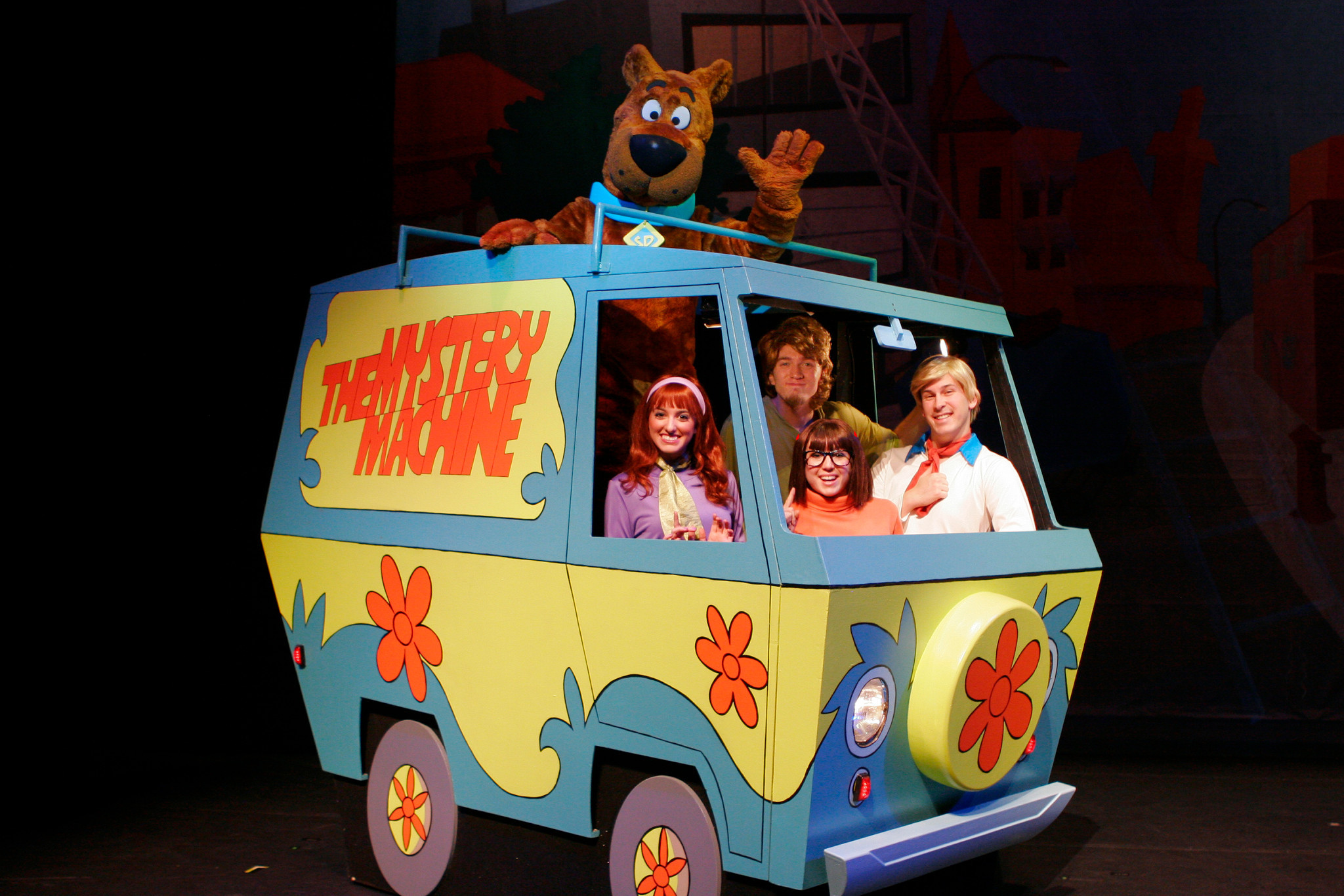 "The Mystery Inc. Gang in the Mystery Machine in ""Scooby-Doo Live! Musical Mysteries,"" presented by Warner Bros. Consumer Products and Life Like Touring."