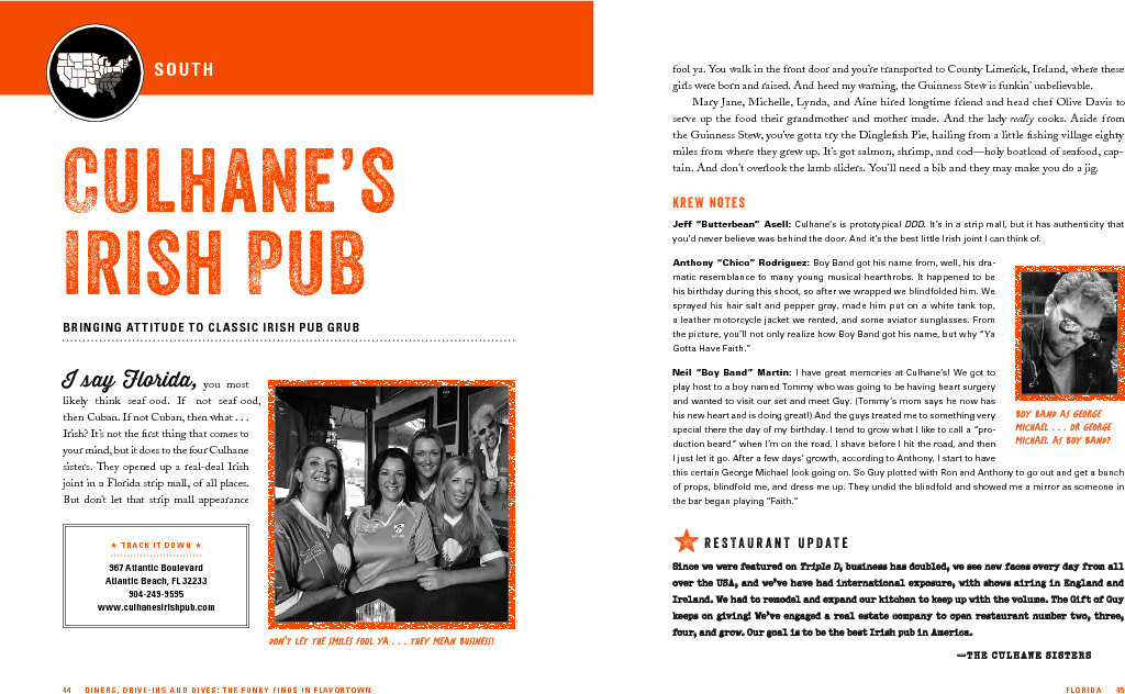 "An excerpt from ""Diners, Drive-Ins and Dives"" featuring Culhane's Irish Pub"