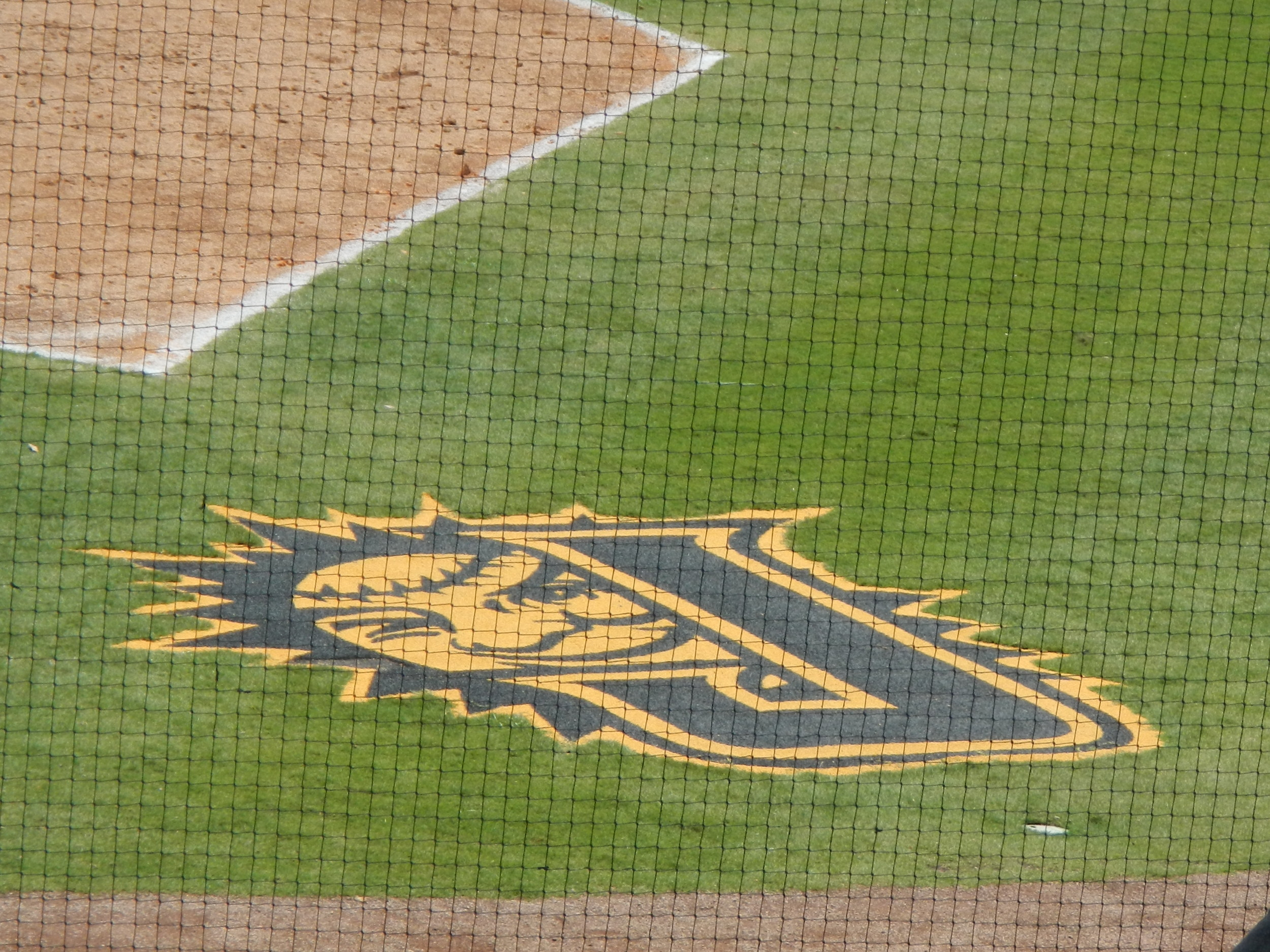 The Jacksonville's Sun logo shines bright behind home plate.