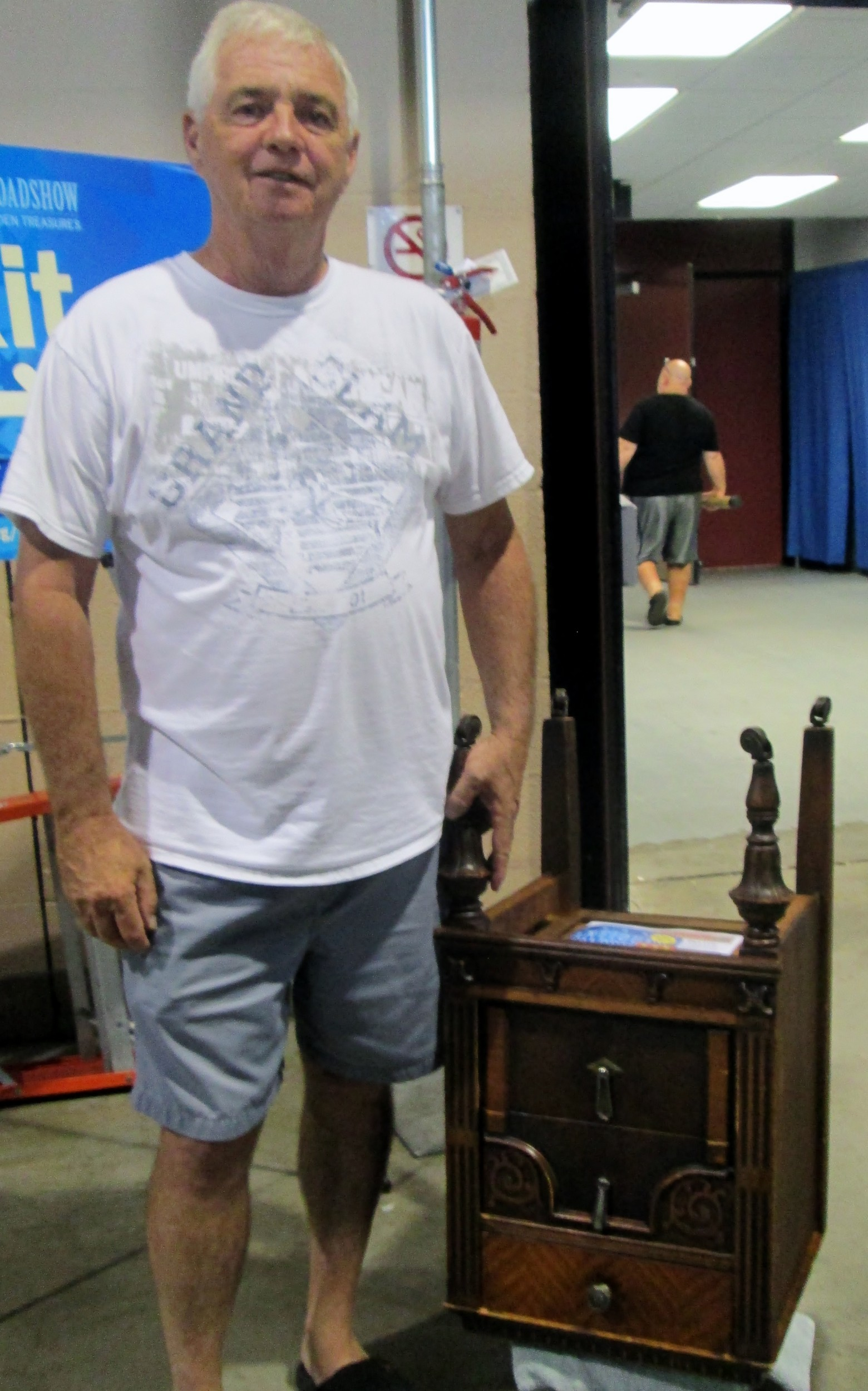 Jack with his 1900-1920s neoclassical nightstand, which was unfortunately only a copy