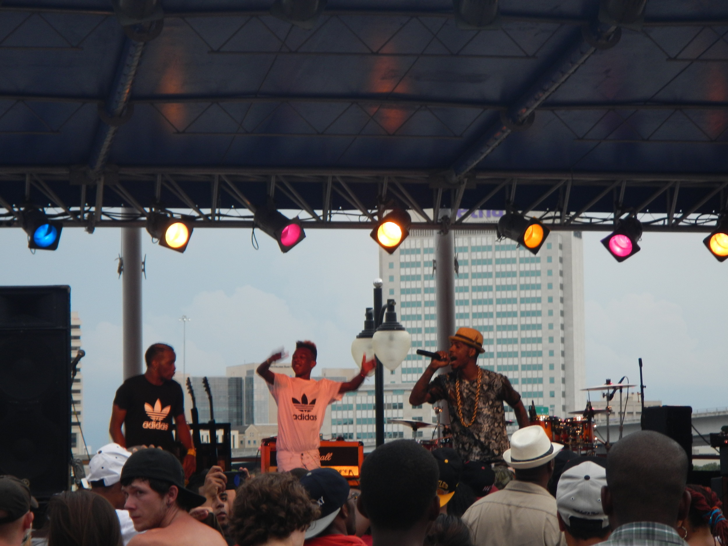 One of the New Boyz performs in front of a crowd at the I Love Music Tour.