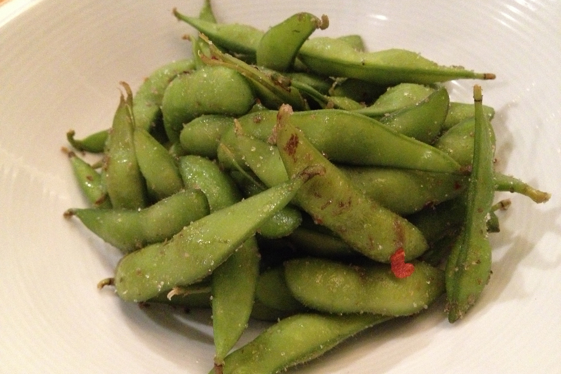 The edamame tossed with hickory-smoked sea salt is an oddly addictive appetizer.