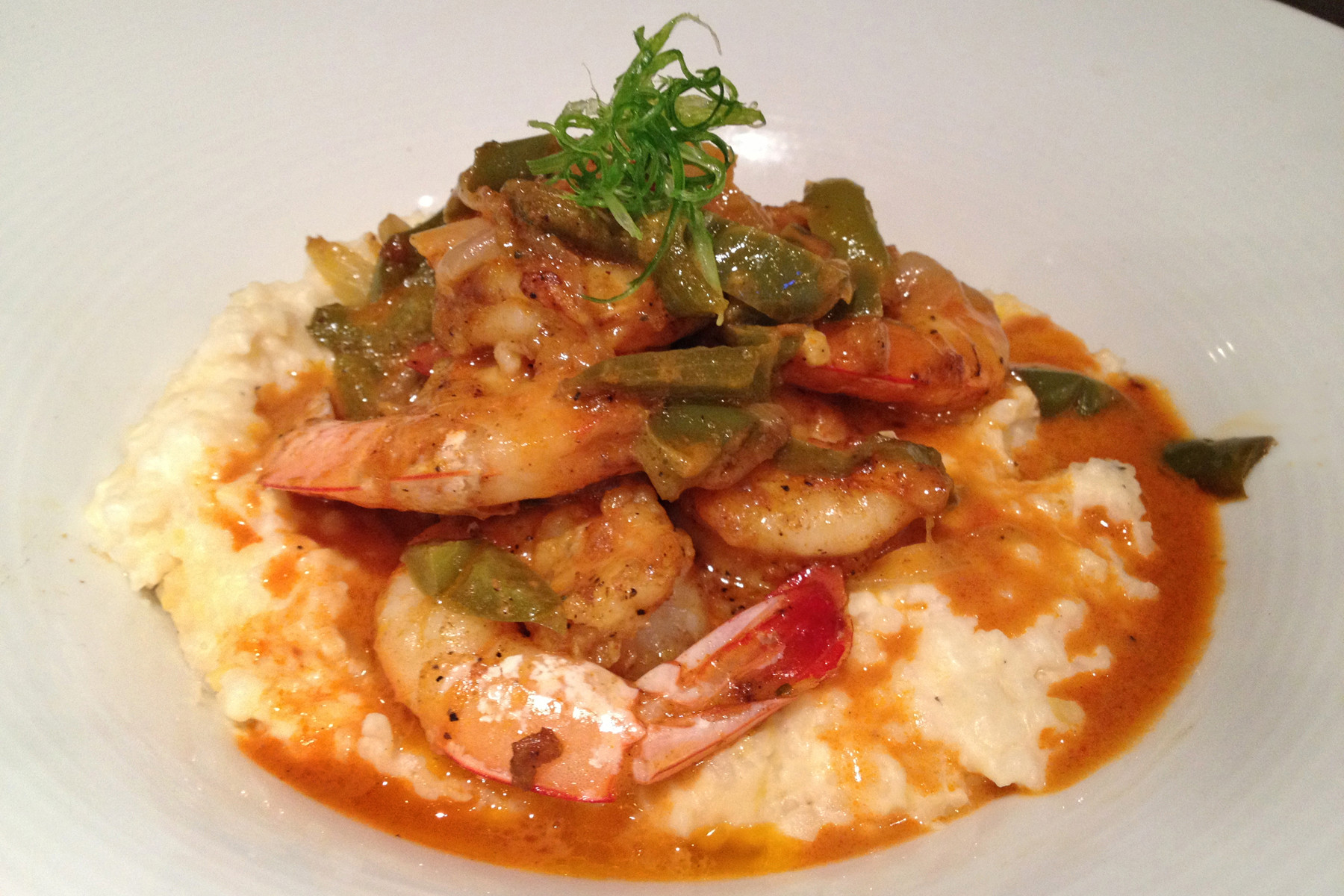 Mayport shrimp, creamy stone-ground goat cheese grits, Creole trinity and New Orleans barbecue sauce make for a flavorful dish — and one of the best versions of this Southern specialty in town.