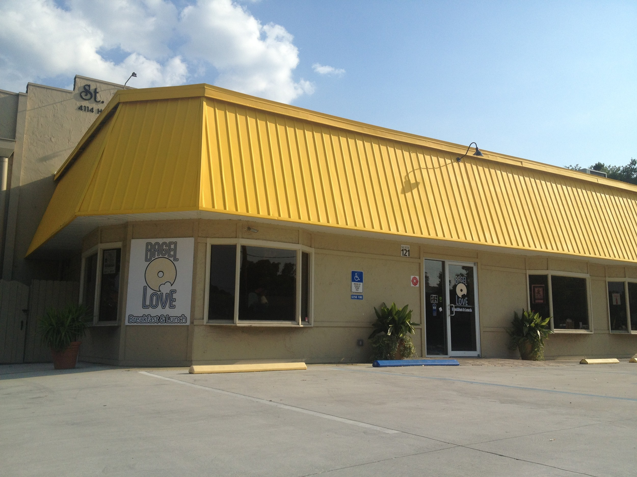 Near Avondale and Ortega, Bagel Love recently received a fresh coat of yellow paint, making it easy to locate.