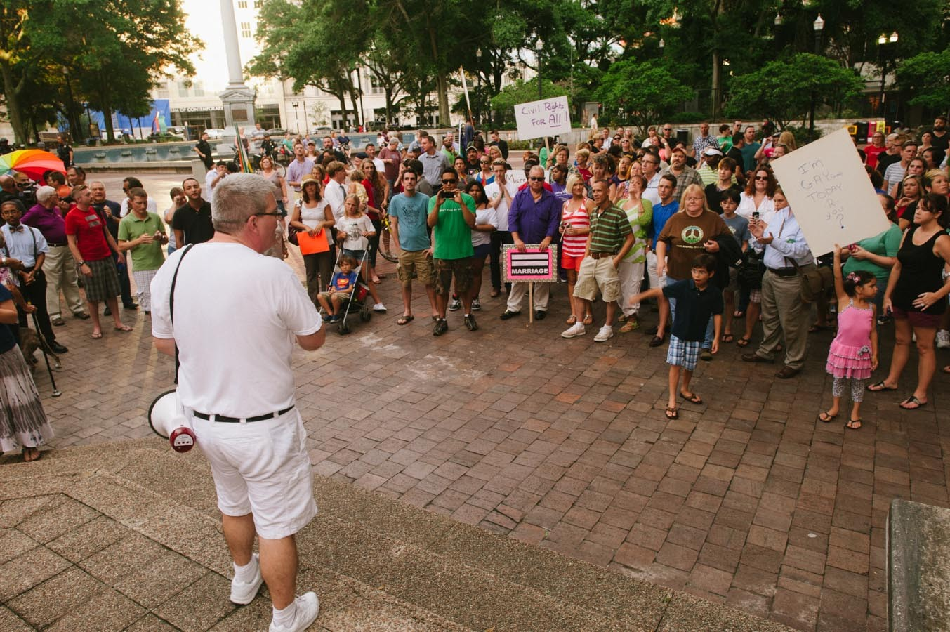 James Eddy addresses the crowd of gay marriage supporters.
