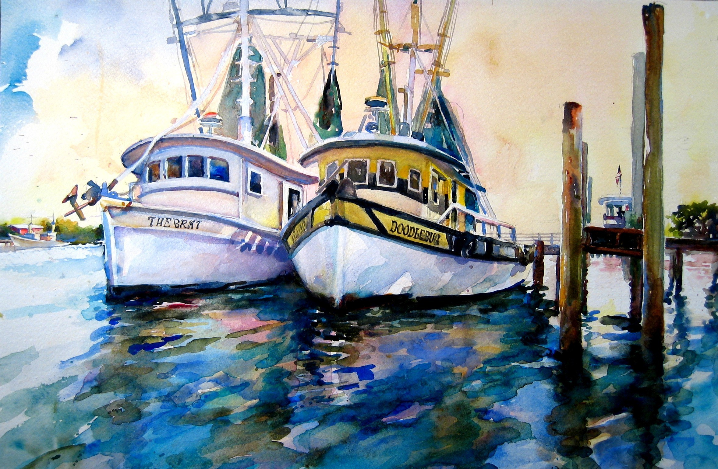 """Shrimp Boats Side by Side"" is among the pieces by Lois Newman on display through July at Adele Grage Cultural Center in Atlantic Beach. A reception for Newman's exhibit is held July 18 during North Beaches Art Walk."