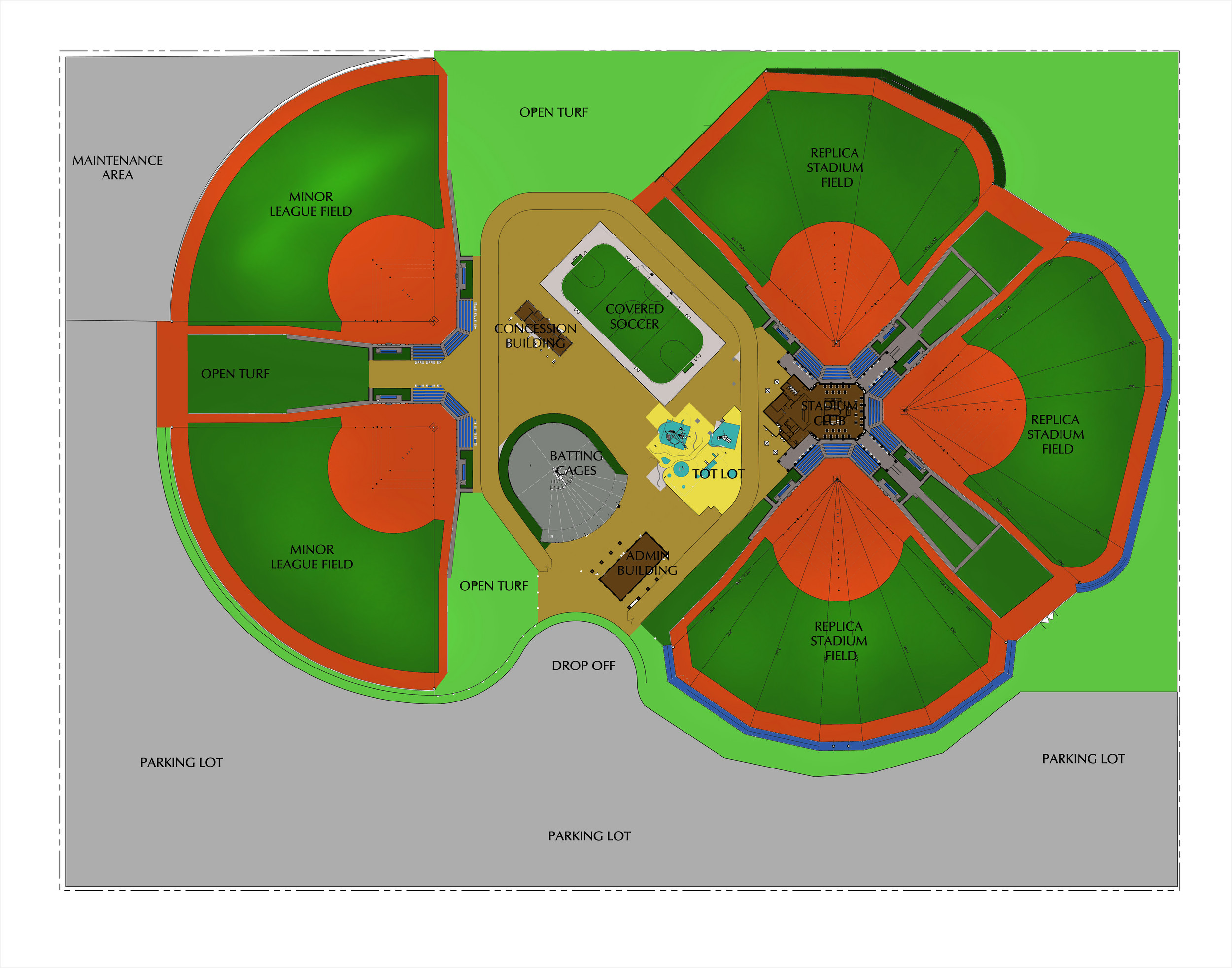 An artist's rendering of the proposed Big League Dreams facility in Clay County shows the five baseball fields and other facilities.