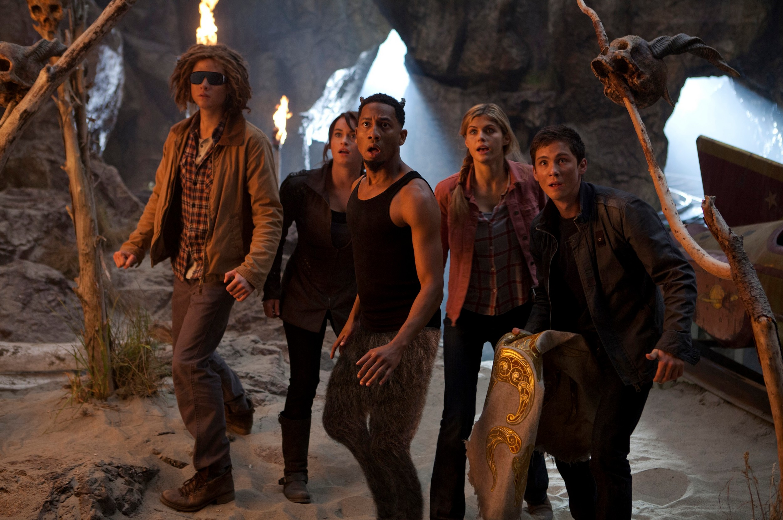 Tyson (Douglas Smith, from left), Clarisse (Leven Rambin), Grover (Brandon T. Jackson), Annabeth (Alexandra Daddario) and Percy (Logan Lerman) are shocked by their latest discovery.