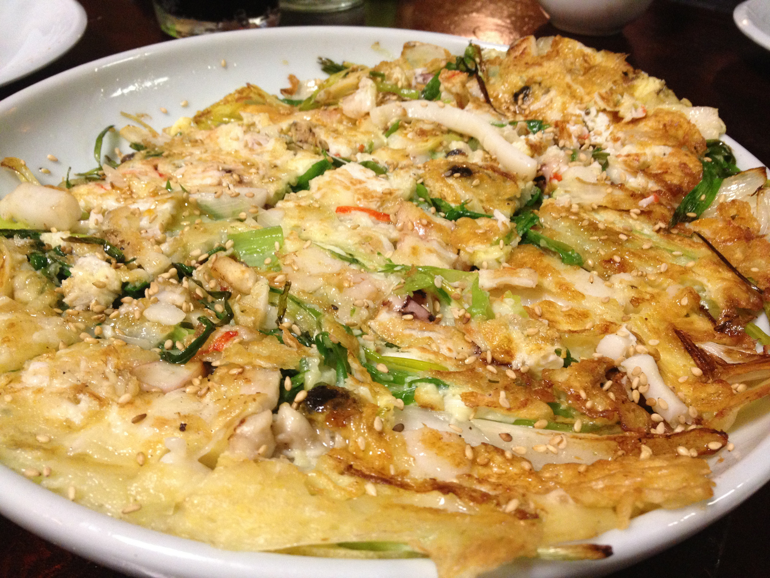 The seafood pancake at Hon Korean.