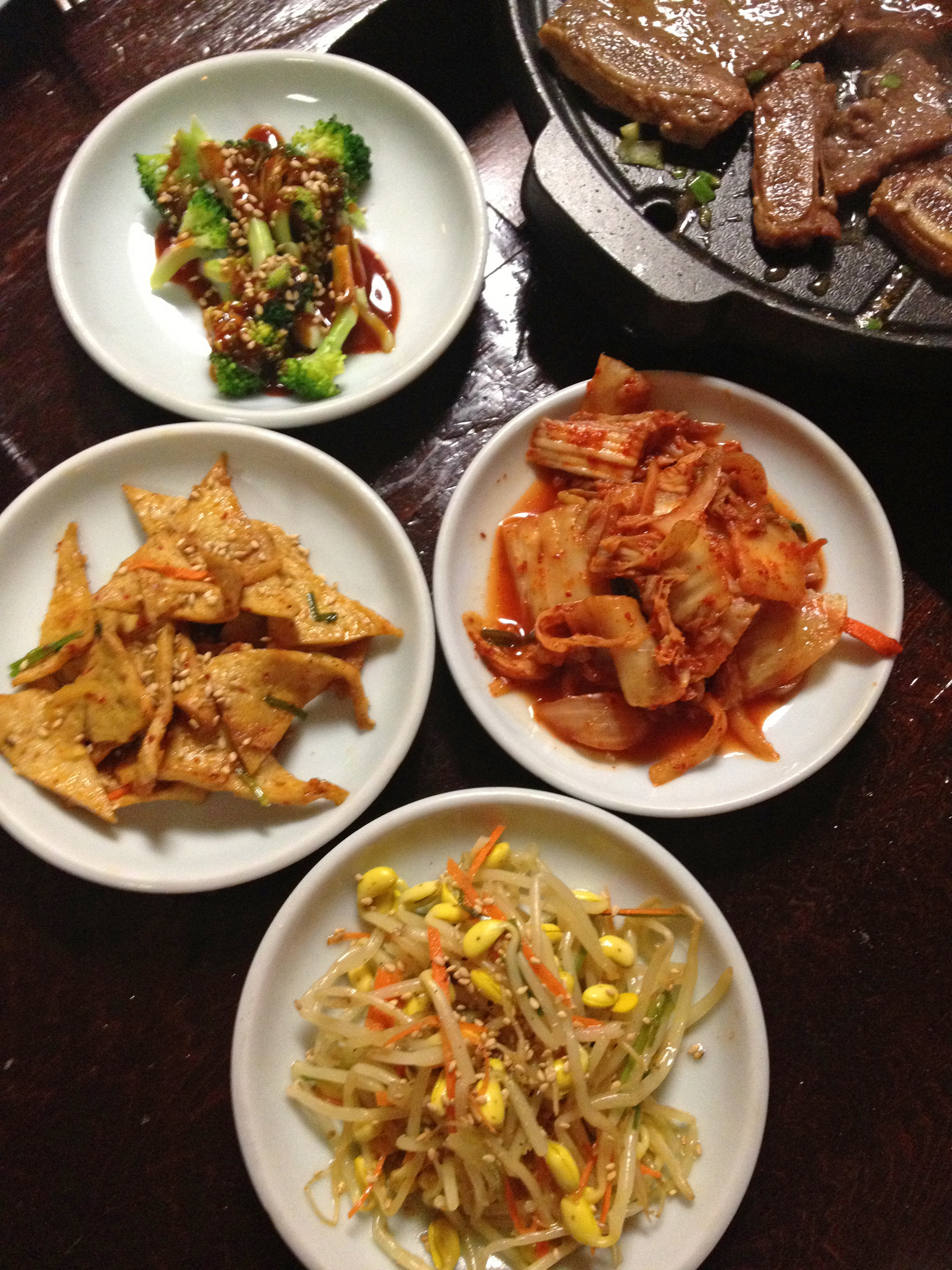 Banchan side dishes at Hon Korean.