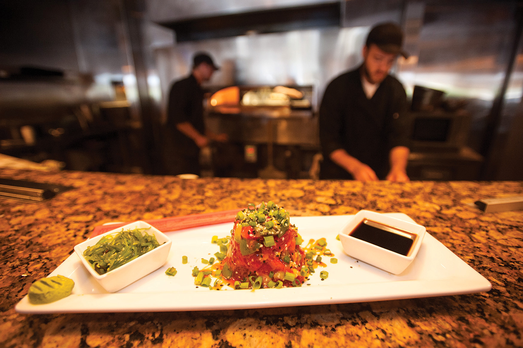 Table 1, an American restaurant and wine bar in Ponte Vedra Beach, offers contemporary platters such as the ahi tuna poki topped with avocado, red bell peppers, scallions, sweet soy caramel and a wakame salad.