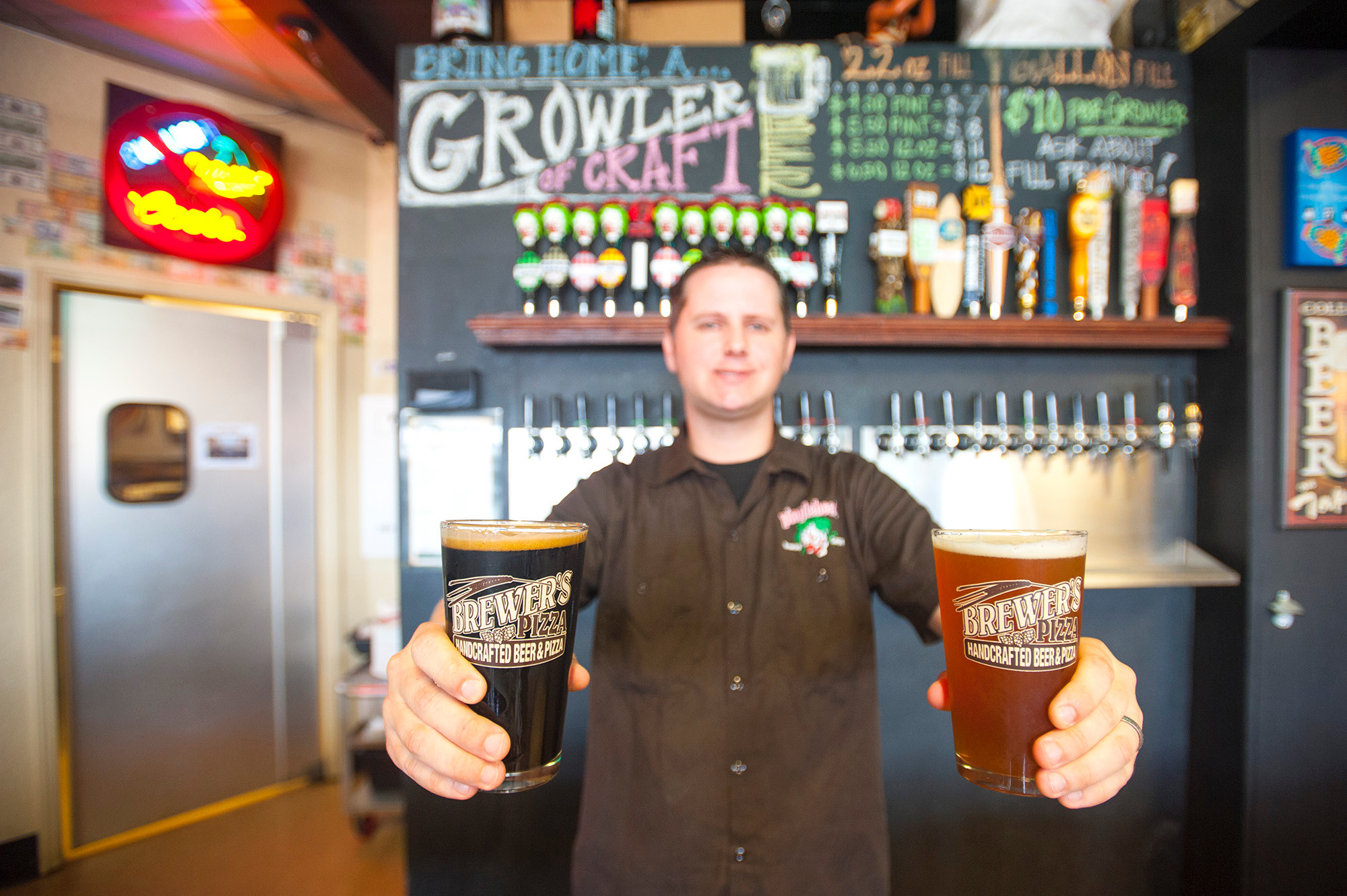 Brewer's Pizza carries at least 10 in-house creations such as Pinglewolf Imperial Cascadian Dark Ale (a collaboration with Aardwolf Brewing Company) and Pinglehead Hashtag American Pale Ale, presented by Steve Halford.