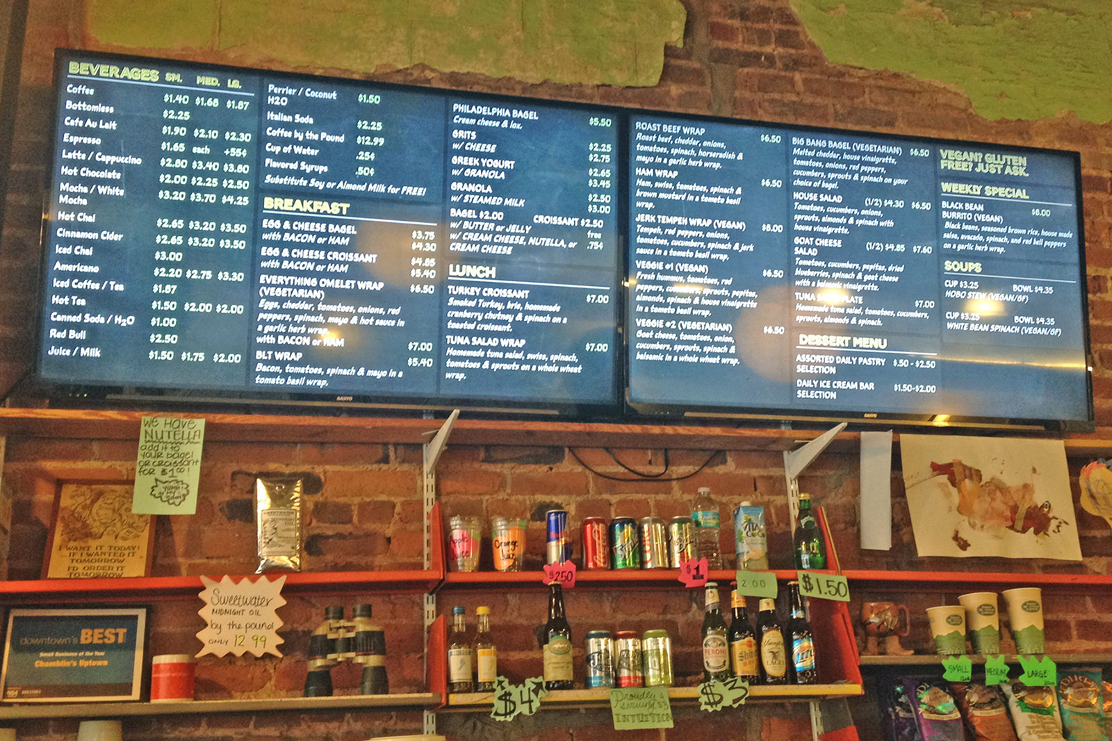 After years of displaying a handwritten chalkboard menu, Chamblin's now boasts a digital dual-screen menu board.