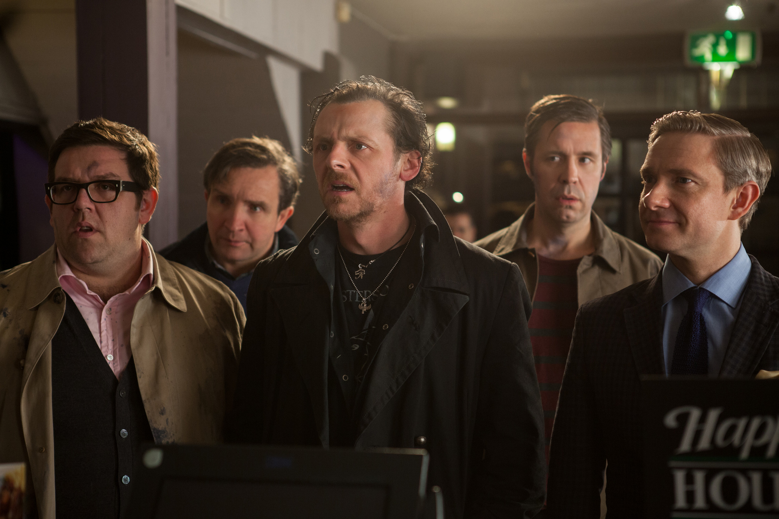 "Andy (Nick Frost, from left), Peter (Eddie Marsan), Gary (Simon Pegg), Steven (Paddy Considine) and Oliver (Martin Freeman) take on the ultimate pub crawl and alien robots in Edgar Wright's ""The World's End."""