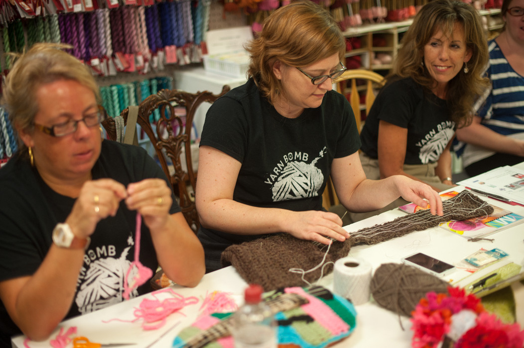 Gaenor Arands, Christie Evon Dickens and Lenai White work on their creations at A Stitch in Time.