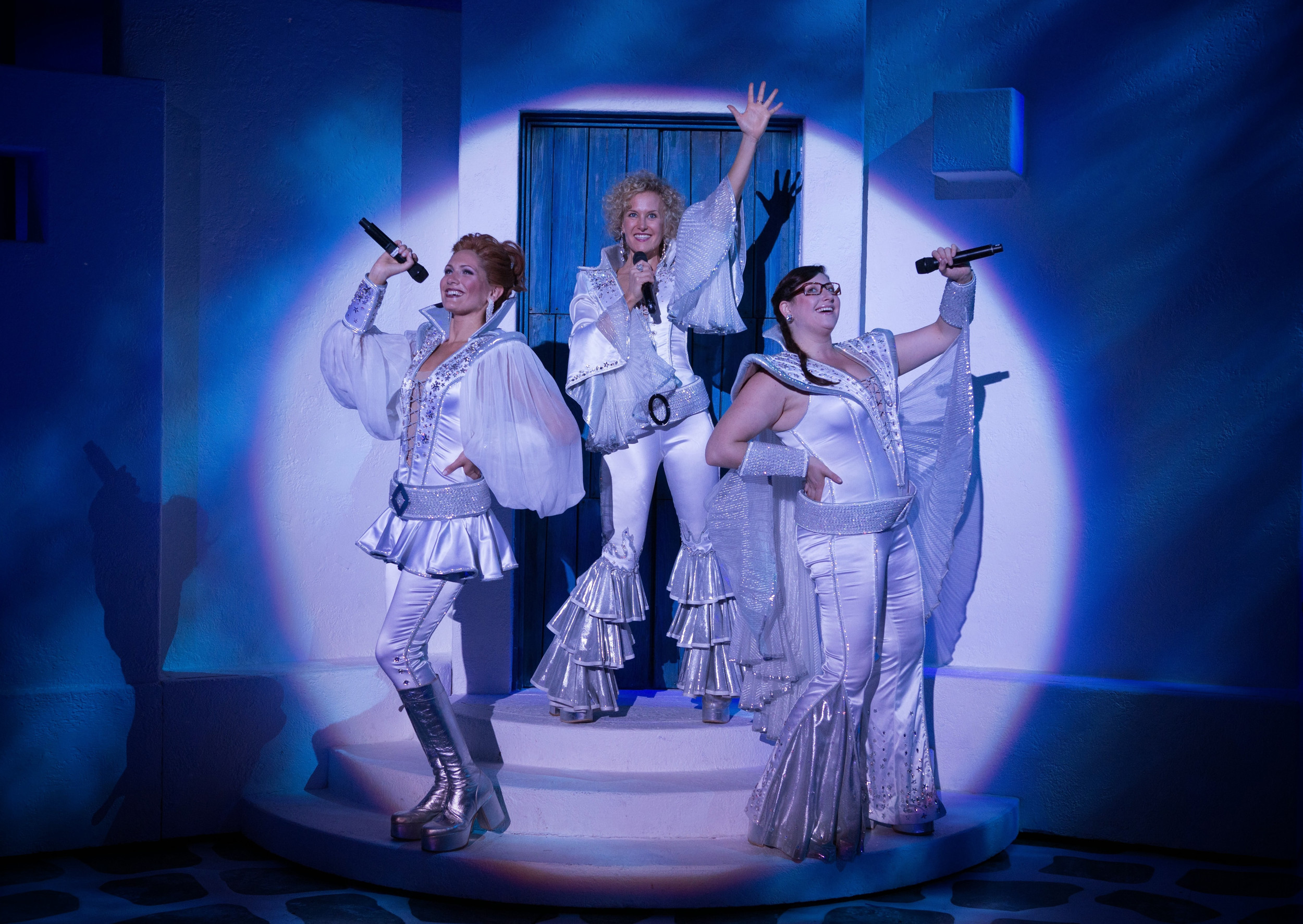 "Tanya (Gabrielle Mirabella), Donna (Georgia Kate Haege) and  Rosie (Carly Sakolove) reunite for the wedding of Sophie, Donna's daughter, in ""Mamma Mia!"" The musical is presented by Artist Series Oct. 18-19 at the Times-Union Center for the Performing Arts in Downtown Jacksonville."