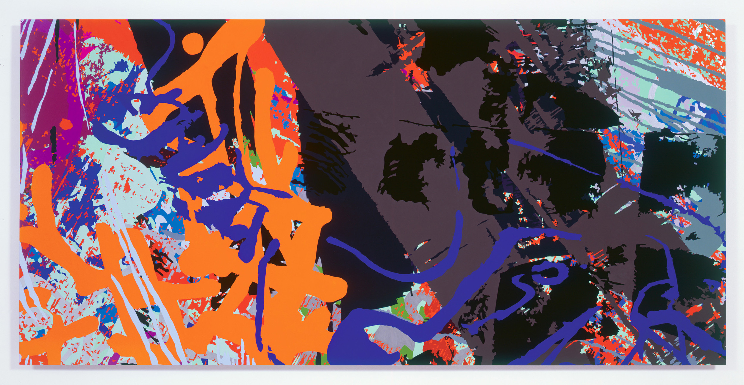 "Ingrid Calame, From ""#268 Drawing (Tracings from the Indianapolis Motor Speedway and the LA River),"" 2007, enamel paint on aluminum, 36"" X 72"""