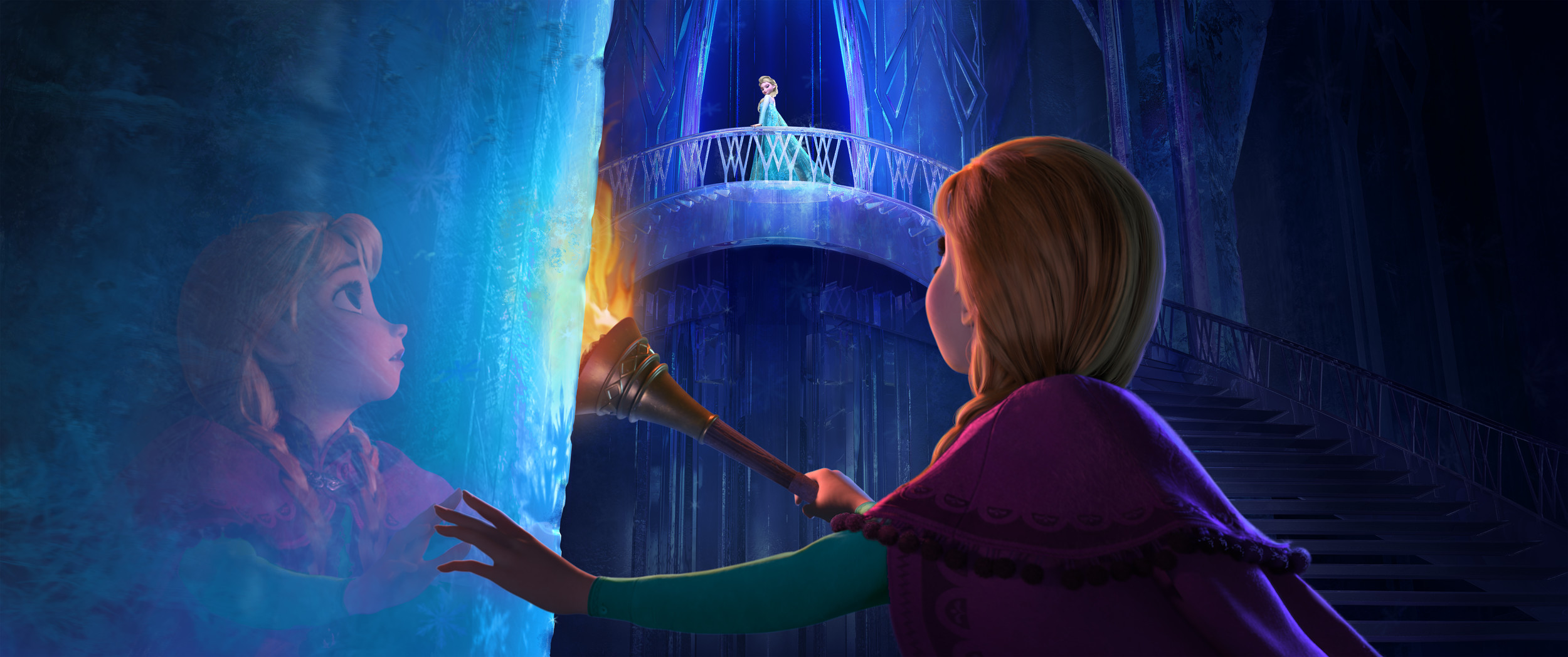 "Queen-to-be Elsa, learning to harness her power to control the cold, is isolated from younger sister Anna in ""Frozen."""