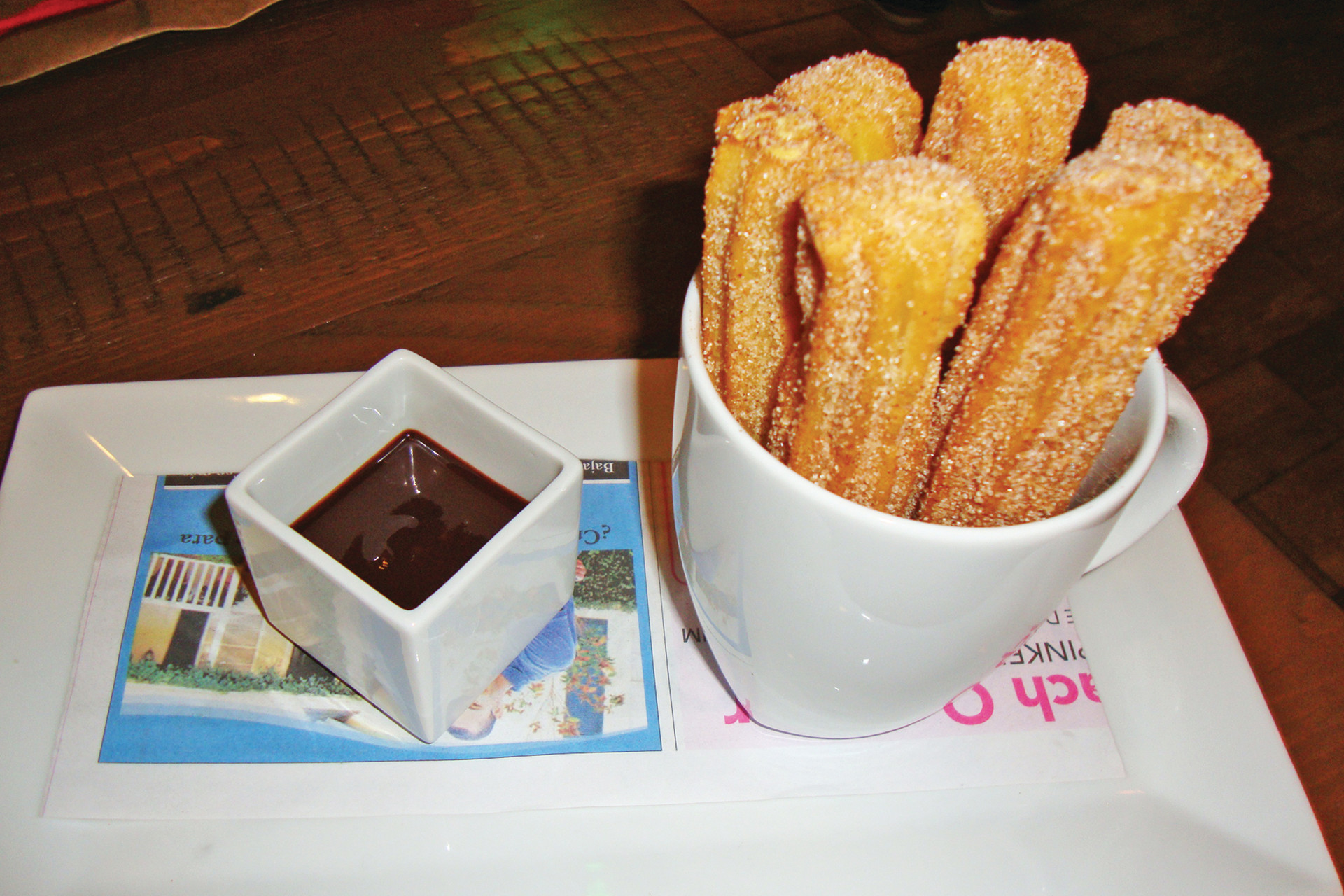 The cream-filled, cinnamon-sugar-dusted churro sticks are tasty and fun when dipped in warm chocolate sauce.