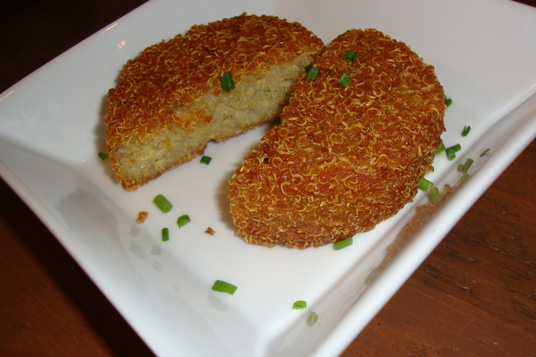 The crispy quinoa cake from the side item menu could benefit from a drizzle of sauce.