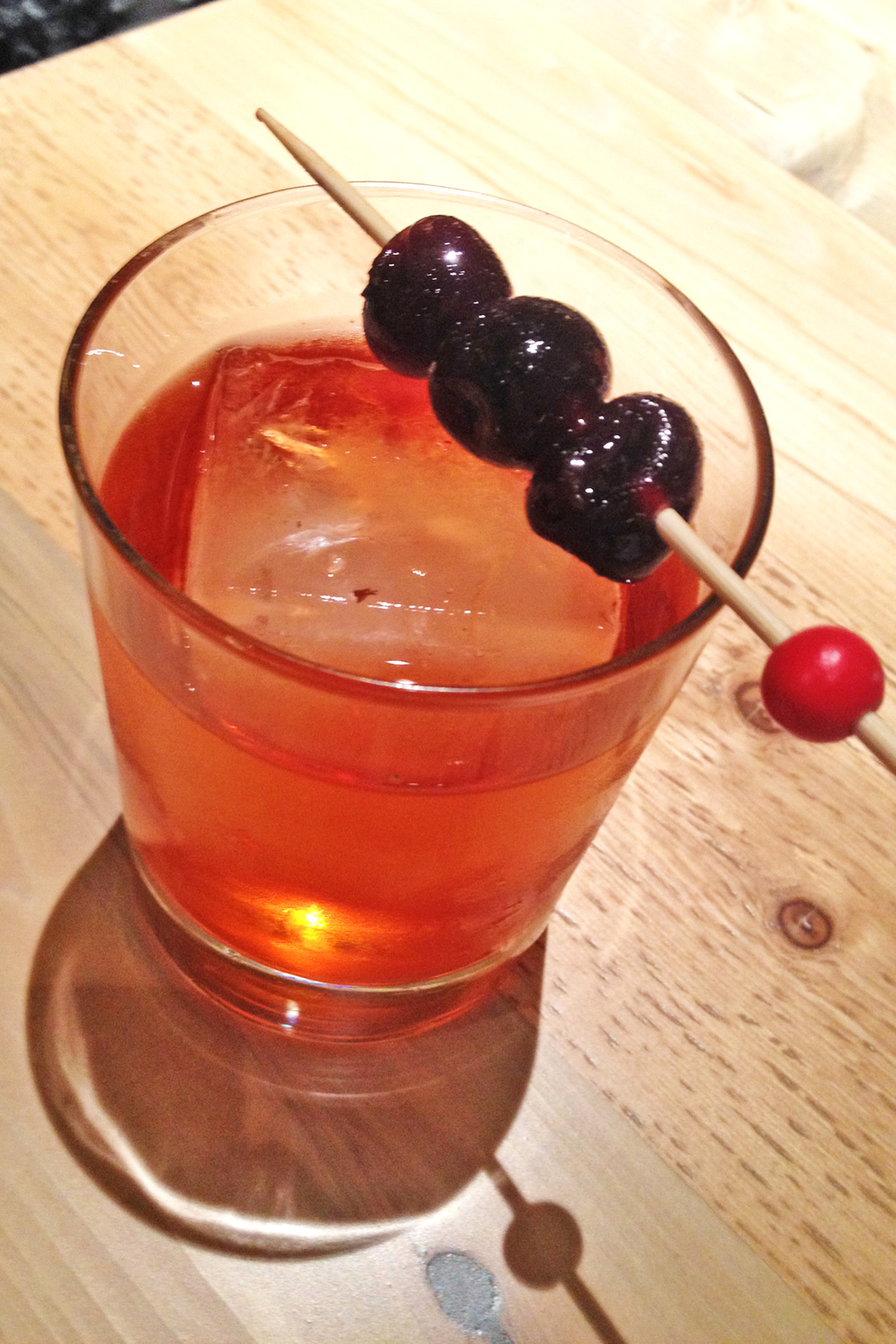 The Walk Don't Run is crafted from Four Roses Yellow Barrel bourbon, Aperol, Cocchi Americano and barrel-aged bitters, then topped with cherries.