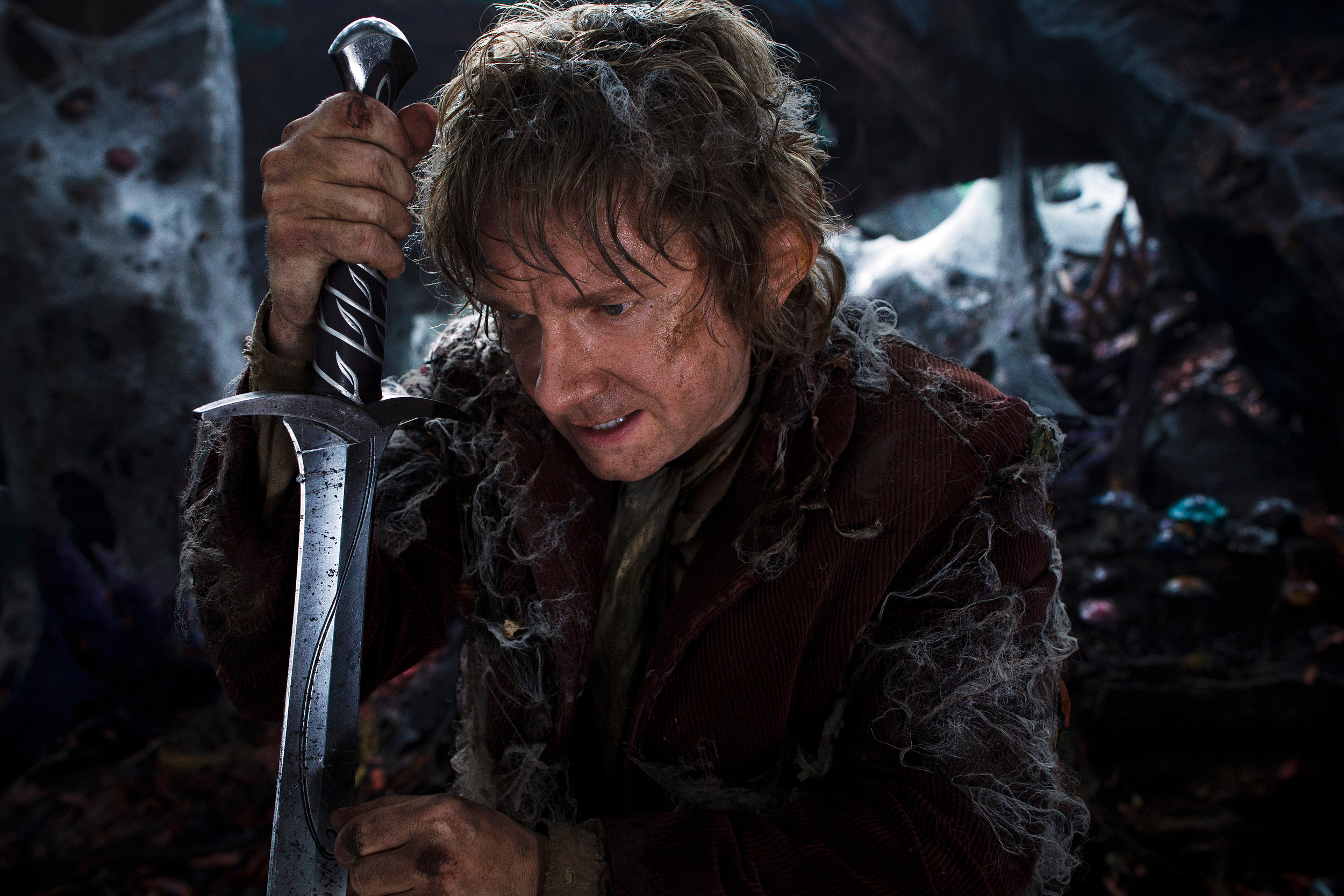 "Bilbo (Martin Freeman) travels with his 13 dwarves to the lair of the dragon Smaug in ""The Hobbit: The Desolation of Smaug,"" directed by Peter Jackson."