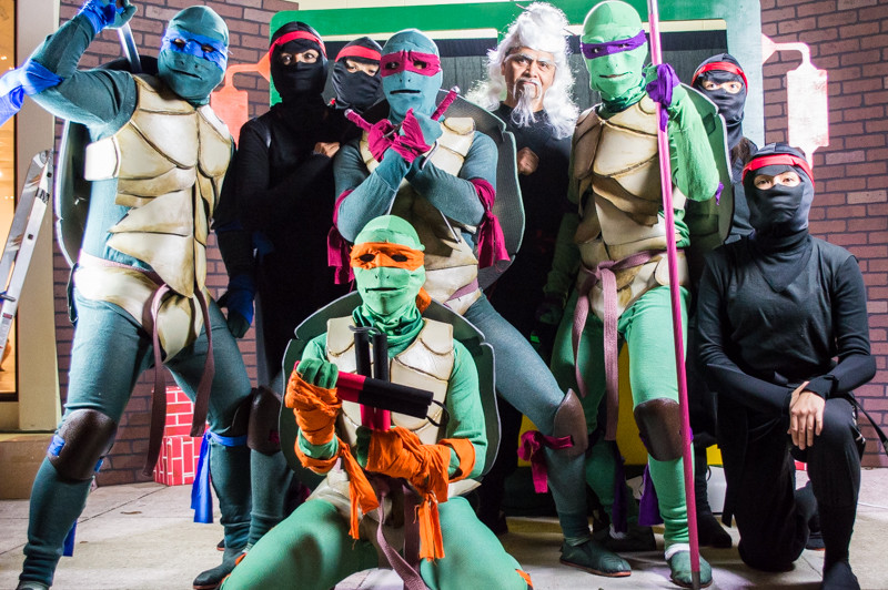The Turtles & The Foot Clan set aside their differences for a photo shoot at TMNG (Nevado Karate Arts)