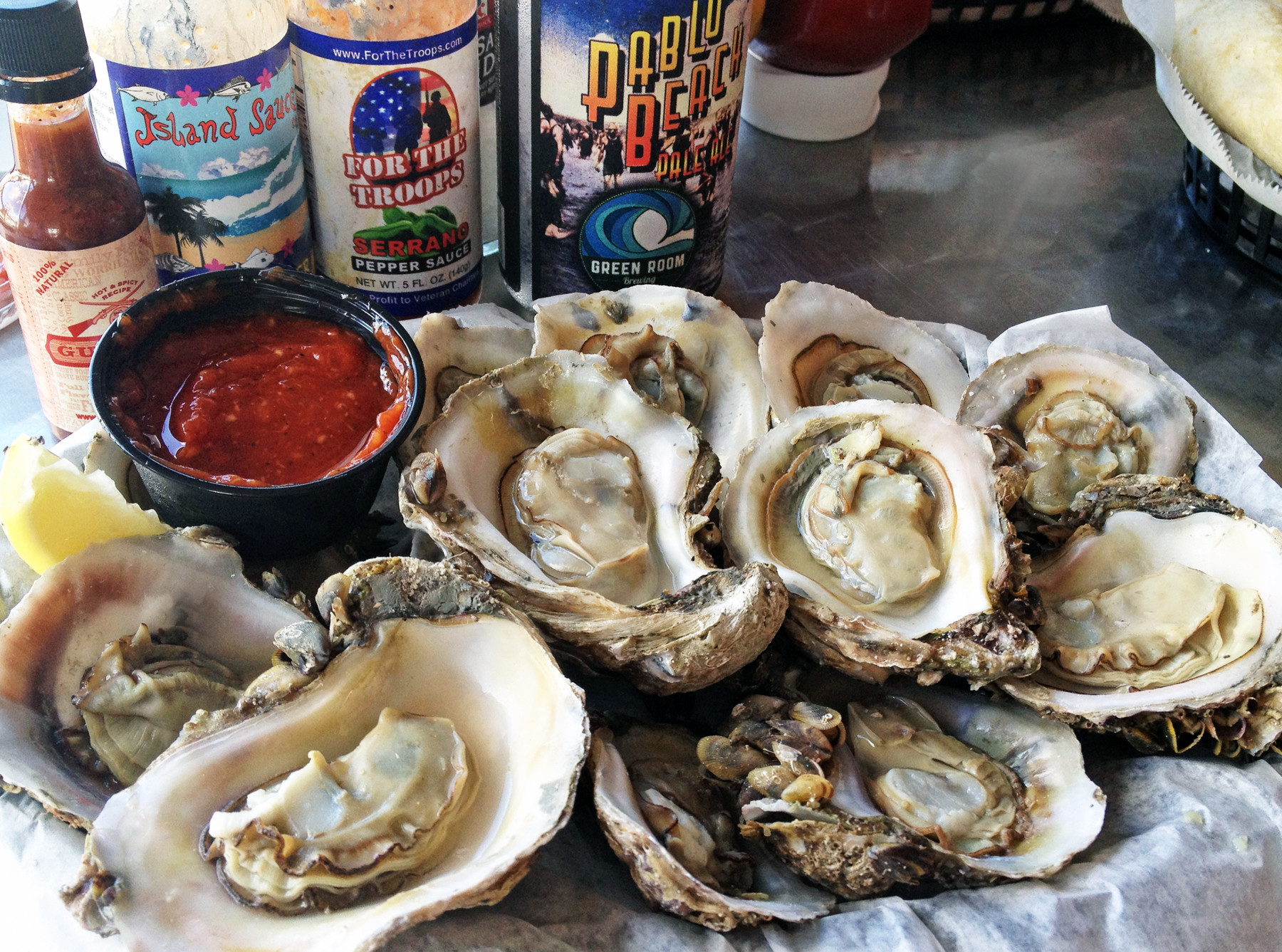 At $5.99 a dozen, steamed oysters with cocktail sauce and melted butter were an affordable appetizer.