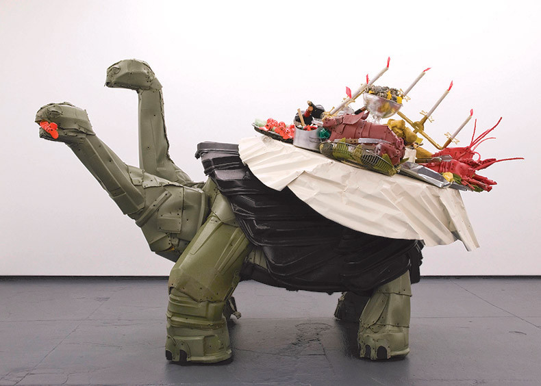 "THE TORTOISE OF TRASH: Johnston Foster's ""Big Tipper"" – a mixed-media piece – was created from found materials including trash cans, wood, scrap metal, plastic and screws. It's exhibited courtesy of the artist and RARE Gallery in New York in ""Material Transformations"" at the Museum of Contemporary Art Jacksonville."