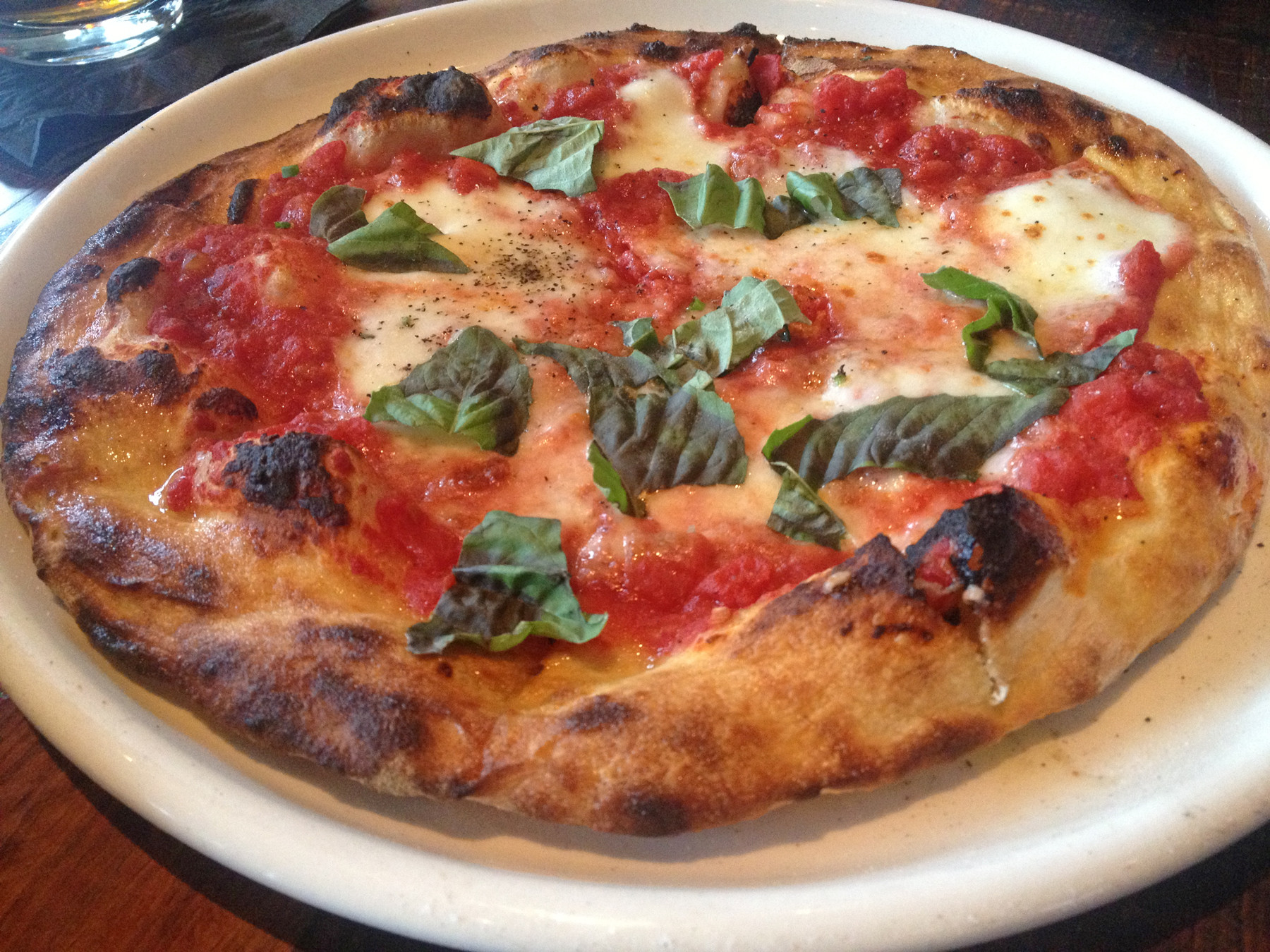 The margherita brick-oven pizza
