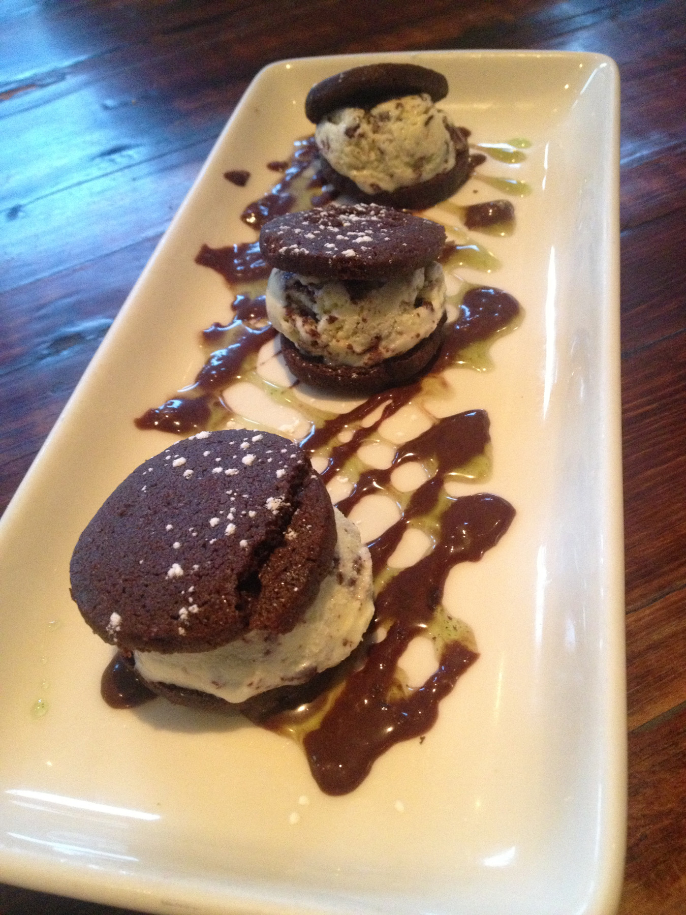 A trio of mini mint chip ice cream sandwiches