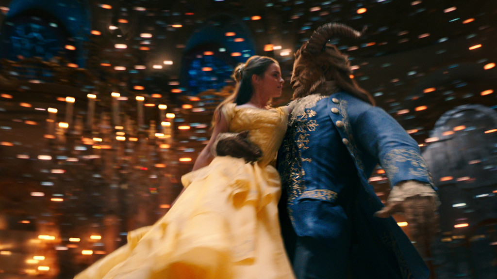 Buffalo Gal, Won't You Come Out Tonight: Belle (Emma Watson) and the Beast (Dan Stevens) twirl in the live-action musical salute to interspecies Stockholm Syndrome, Beauty and the Beast.