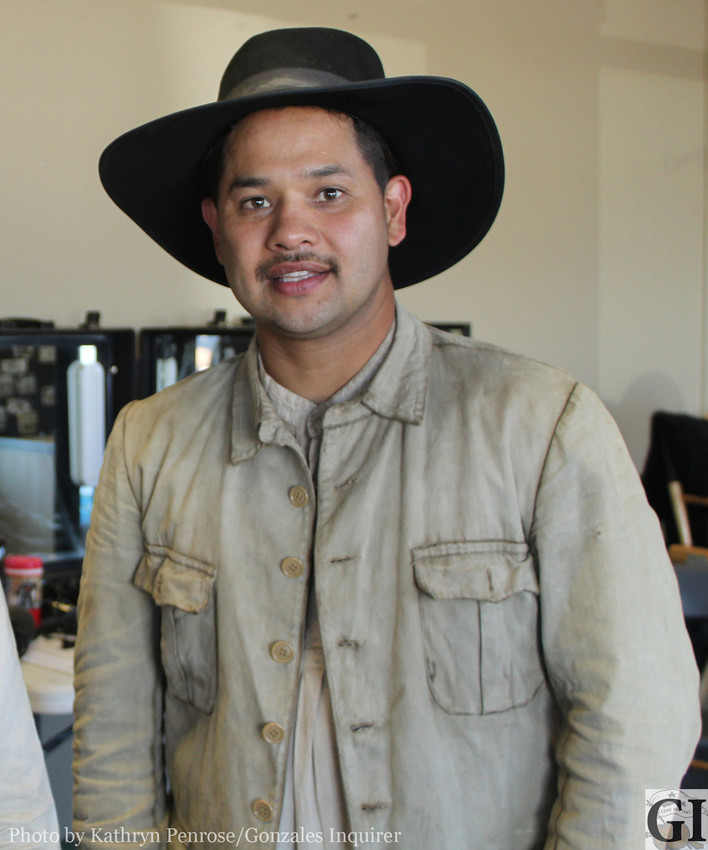 Eddie Velazquez played a Mexican soldier while not on duty at the Gonzales Fire Department.