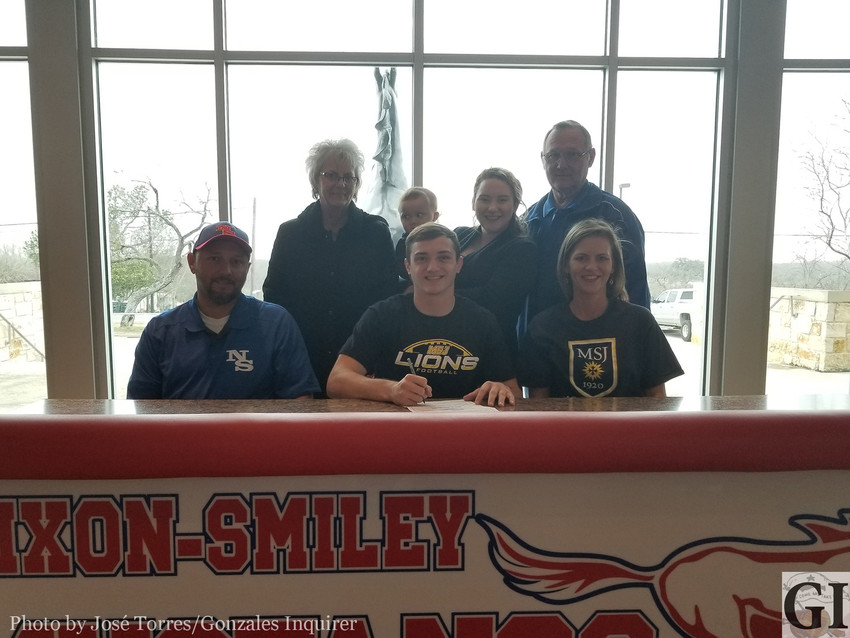 Colby Newman signed on National Signing Day, Feb. 7, to play for the Mount St. Joseph University Lions near Cincinnati, Ohio.