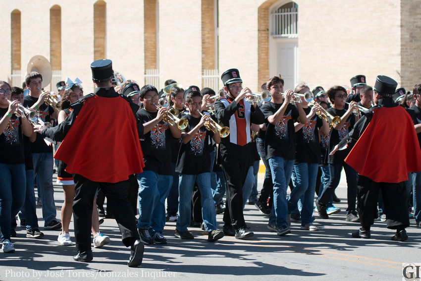 The Mighty Apache Band has performed at various events including the Come and Take It parade using 17-year-old uniforms. The outdated, worn-out pieces of clothing are older than most of the band students who had to wear them this year.