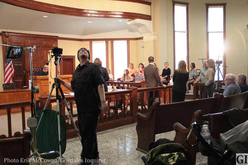 The district courtroom at the Gonzales County courthouse was the scene for a short film shoot earlier this month. The story comes from the Bettie and Ruben Ramirez child abuse and murder trial that occurred in the same room in 2009.