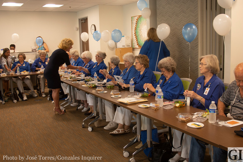 The Gonzales Healthcare Systems celebrated the hospital's Auxiliary Club with a special luncheon at the annual installation of new officers on Tuesday. The service club surpassed 100,000 service hours volunteering for the hospital and raising funds for a variety of causes, projects and scholarships.
