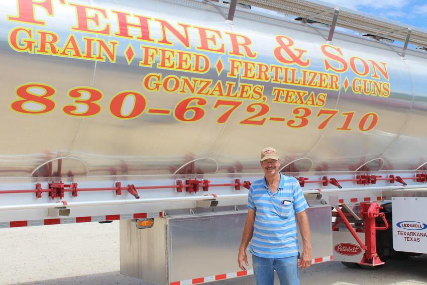 Jimmy Fehner stands proudly in front of the new Fehner and Son 18 wheeler that made its maiden delivery on Monday.