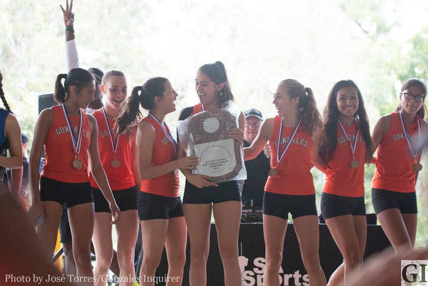 The Lady Apaches cross-country team of Veronica Moreno, Krisanta Esquivel, Kaylin Ramirez, Krystalynn Buesing, Maura Garcia, Stephanie Reyna and Shelby Davis finished first, capturing their third district title in a row, winning the 30-4A meet in Seguin on Tuesday.