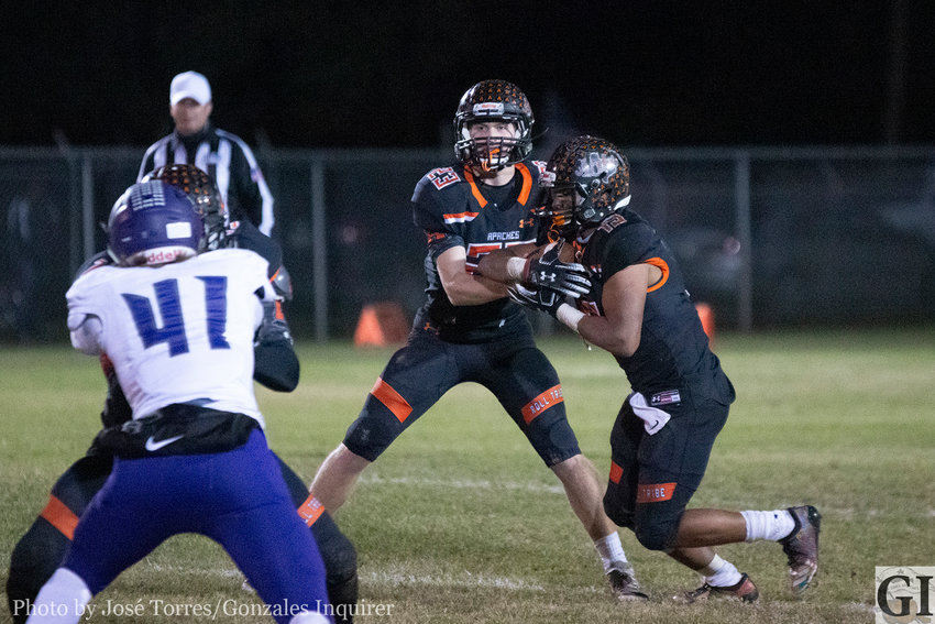 Behind the stout Gonzales Apache line, the offense had no trouble rushing the ball with Heath Henke at quarterback at James Martinez taking the bulk of the carries in Gonzales' 35-28 upset win over Boerne.