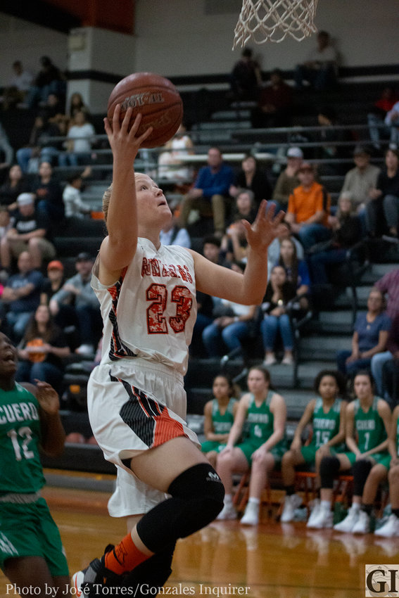 The Gonzales Lady Apaches are fighting for a top three spot in district tonight as they take on Pleasanton on the road.