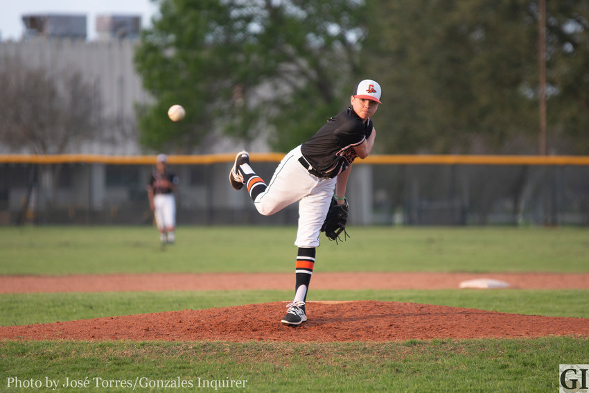 The Gonzales Apaches are young throughout the roster, with freshman pitcher Carson Gayton (2) coming in for relief at the top of the six to close out the game. Gonzales lost 6-1 to the Highlands Owls on Tuesday.