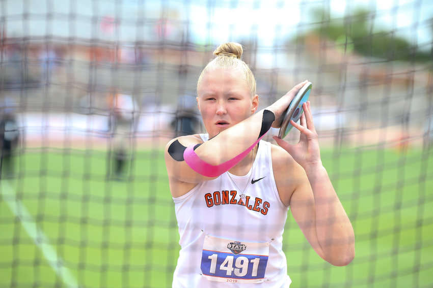 Devon Williams of Gonzales High School competes in the Class 4A girls discus event at the UIL State Track and Field Meet on Saturday, May 11, 2019 at Mike A. Myers Stadium in Austin, Texas.