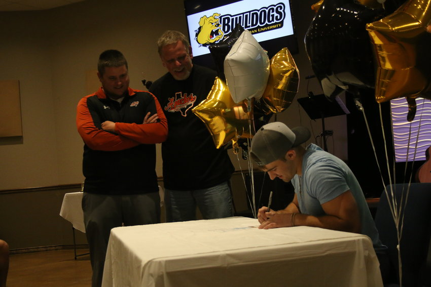 Seth Gibson signed on to play football at Texas Lutheran University last Wednesday, the last week of school.