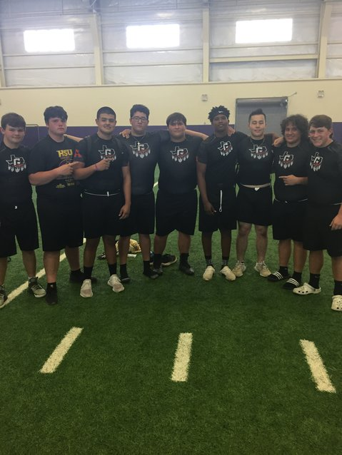 Pictured (from left) are the Gonzales Apaches linemen who competed and then qualified for the statewide challenge, Brady Oakes, Brett Jahns, Christian Almaguer, Ryan Gomez, Coby Pruett, Desmond Bolden, Lion Williamson, Nico Anzaldua and Austin Cummings. Not pictured is Diego Diaz de Leon.