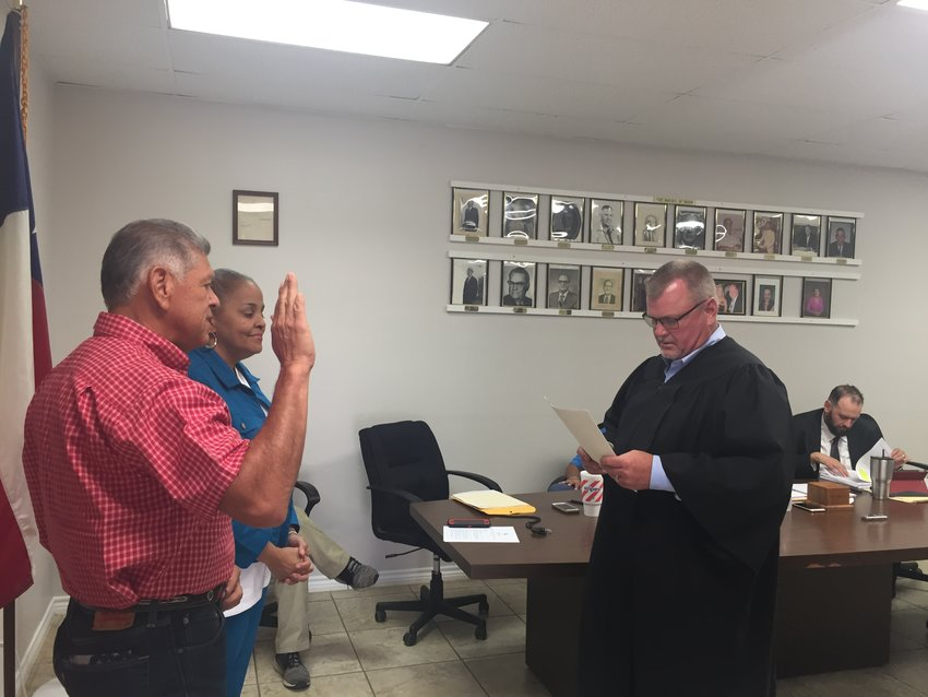 "Mary Ann Fatheree and Estevan ""Steve"" Aguirre were sworn into office June 10 by Precinct 4 Justice of the Peace Darryl Becker. Fatheree won reelection while Aguirre, the top vote getter in the election, defeated incumbent Joseph ""Joey"" Bjorgaard and other candidates to become a Nixon Alderperson."