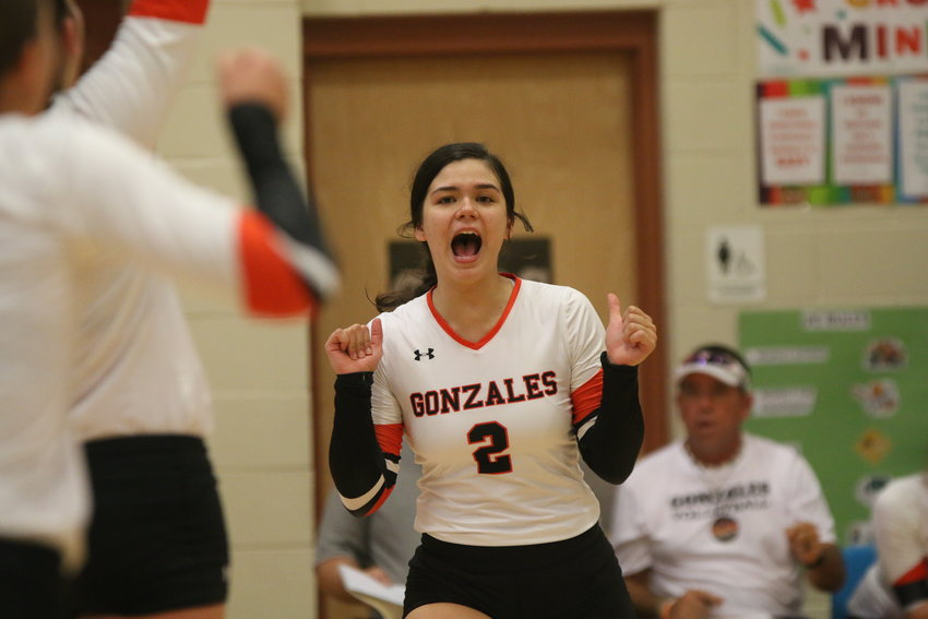 Madison Pirkle celebrates a point during Gonzales' game against Sonora at Wimberley's Tex-Fest volleyball tournament.