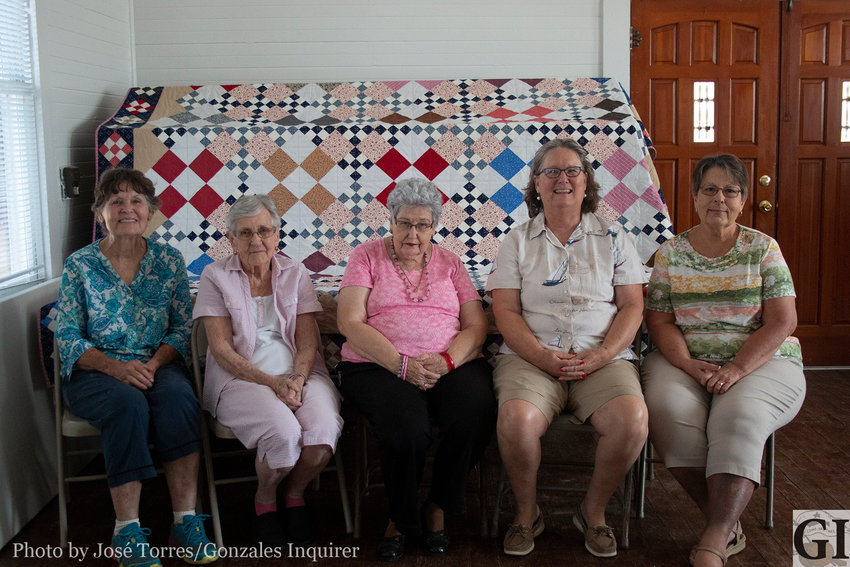Pictured (from left) are Margie Rice, Janice Littlefield, Ruth Newberry, Missy DIrks and Frances Altwein. Other quilters who helped include Charlene Anderson, Jolene Zdebksi, Terro Porter and Helen Taylor.
