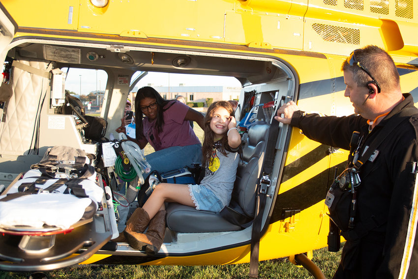 Flying back into town will be this rescue chopper during the annual National Night Out in front of the thrive Healthplex next Tuesday, Oct. 1.